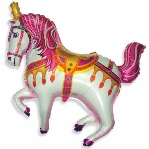 """Шар фольгированный """"Лошадь цирковая""""(фуксия) 99 см. С гелием"""