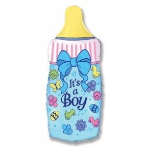 """Шар фольгированный """"Бутылочка для мальчика"""" 79 см. С гелием"""