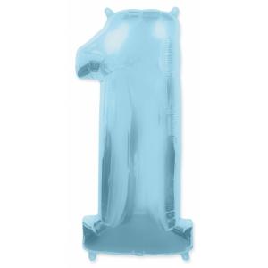 """Шар фольгированный """"Цифра 1"""" голубая 102 см. С гелием"""