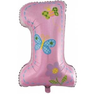 Шар фольгированный цифра, первый день рождения, девочка, Розовая 86 см. С гелием
