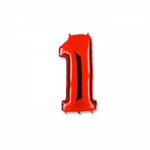 """Шар фольгированный """"Цифра 1"""" красная 102 см. С гелием"""