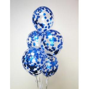 "Шар гелиевый 30 см(12"") с конфетти(синее)"
