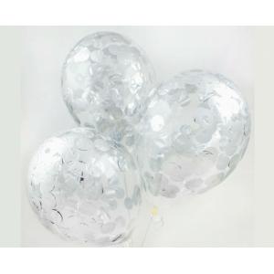 """Шар гелиевый 30 см(12"""") с конфетти(серебряное)"""