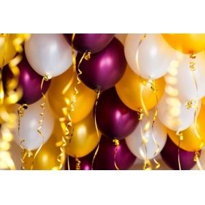 Облако из шаров золото, бургундия металлик и белый. 20 шт.