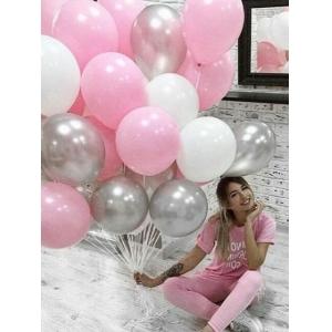 Облако шаров белый, розовый, серебро. 20 шт с обработкой.