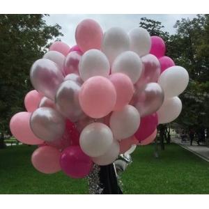 Облако шаров фуксия, розовый, белый, серебро. 20 шт с обработкой.