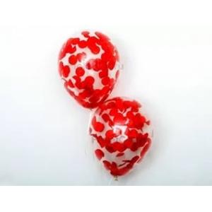 """Шар гелиевый 30 см(12"""") с конфетти(красное)"""