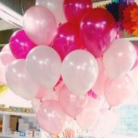 Облако из шаров. Бело-розовые металлик. 30 см. 20 шт.