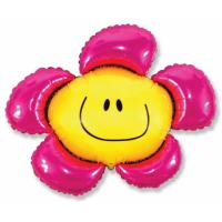 """Шар фольгированный """"Цветок. Солнечная улыбка""""(фуксия) 104 см. С гелием"""