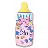 """Шар фольгированный """"Бутылочка для девочки"""" 79 см. С гелием"""