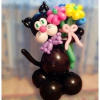 """Фигура из шаров """"Чёрный котик с букетом"""""""
