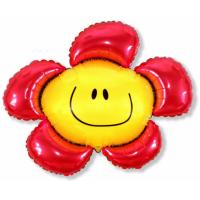 """Шар фольгированный """"Цветок. Солнечная улыбка""""(красный) 104 см. С гелием"""