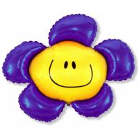 """Шар фольгированный """"Цветок. Солнечная улыбка""""(фиолетовый) 104 см. С гелием"""