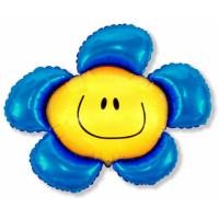 """Шар фольгированный """"Цветок. Солнечная улыбка""""(голубой) 104 см. С гелием"""