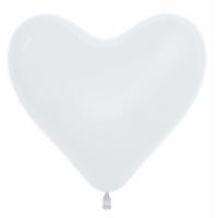 """Шар гелиевый Сердце Белое (Пастель) 30 см (12"""")"""