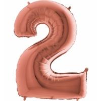 """Шар фольгированный """"Цифра 2"""" розовое золото 105 см. С гелием"""
