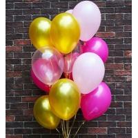 """Облако шаров """"Белый, фуксия, прозрачный, золотой"""" 30 см. 25 шт."""