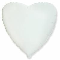 """Шар фольгированный """"Сердце""""(белое) 48 см. С гелием"""