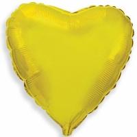 """Шар фольгированный """"Сердце""""(золото) 48 см. С гелием"""
