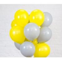 Облако из шаров жёлтый и серый. 30 см. 20 шт.