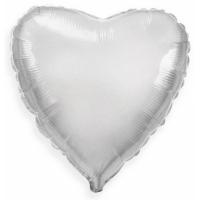 """Шар фольгированный """"Сердце""""(серебро) 48 см. С гелием"""