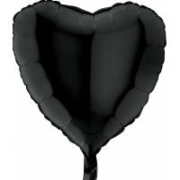 """Шар фольгированный """"Сердце""""(чёрное) 48 см. С гелием"""