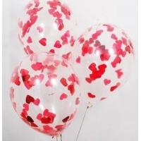 """Шар гелиевый прозрачный с конфетти сердца красные 30 см (12"""")"""