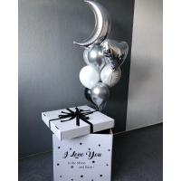 """Коробка с шарами """"Люблю тебя до луны и обратно"""""""