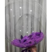 """Шар бабблс с фиолетовыми перьями 18""""(48 см)."""