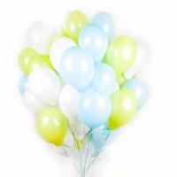 Облако из белых, голубых и лайм шаров. 30 см. 20 шт.