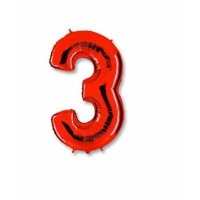 """Шар фольгированный """"Цифра 3"""" красная 102 см. С гелием"""