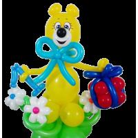 """Фигура из шаров """"Мишка с подарком и цифрой"""""""