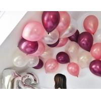 Облако из шаров металлик розовый, бургундия и белый. 30 см. 20 шт.