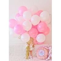 Облако из бело-розовых шаров.30 см. 20 шт.