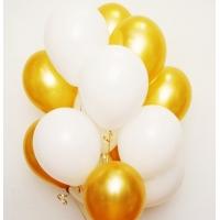 Облако шаров золото и белый. 20 шт с обработкой.