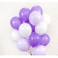 Облако шаров сириневый, фиолетовый, белый. 30 см. 20 шт.