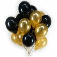 Облако из чёрных и золотых(металлик) шаров.30 см. 20 шт.