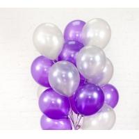 Облако из серебряных и фиолетовых шаров металлик. 30 см. 20 шт.