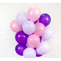 Облако из шаров сиреневый, фиолетовый и розовый. 30 см. 20 шт.