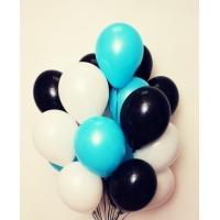 Облако шаров чёрный, голубой и белый 20 шт. с обработкой.