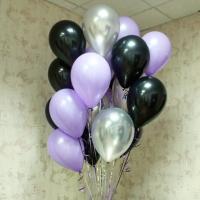 Облако из шаров чёрный, фиолетовый, серебро. 30 см. 20 шт.