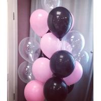 """Облако шаров """"Чёрный, розовый, прозрачный"""" 30 см. 20 шт."""