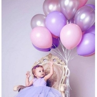 Облако шаров сиреневый, розовый, серебро 20 шт. с обработкой.