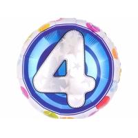 """Шар фольгированный круг """"Цифра 4"""", 46 см. С гелием"""