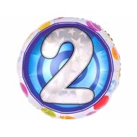 """Шар фольгированный круг """"Цифра 2"""", 46 см. С гелием"""