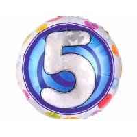 """Шар фольгированный круг """"Цифра 5"""", 46 см. С гелием"""