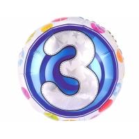 """Шар фольгированный круг """"Цифра 3"""", 46 см. С гелием"""