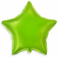 """Шар фольгированный """"Звезда"""" (лайм) 48 см. С гелием"""