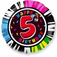 """Шар фольгированный круг """"Цифра 5"""", Happy Birthday 46 см. С гелием"""