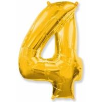 """Шар фольгированный """"Цифра 4"""" Золото 102 см. С гелием"""